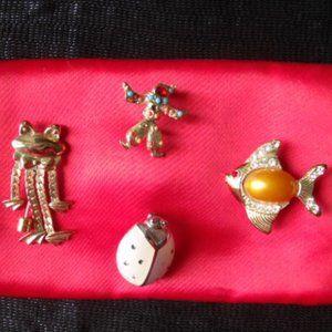 Brooches - Frog - Ladybug - Fish - Clown